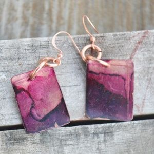 Cute Pink Purple Solid Copper Earrings Drop Dangle